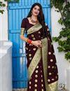 image of Banarasi Silk Fabric Function Wear Trendy Weaving Work Saree In Maroon Color