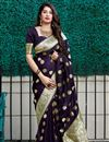 image of Function Wear Purple Color Trendy Banarasi Silk Fabric Weaving Work Saree