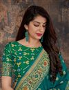 photo of Eid Special Banarasi Silk Teal Function Wear Designer Weaving Work Saree