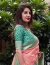 photo of Sangeet Wear Pink Color Elegant Art Silk Fabric Weaving Work Saree