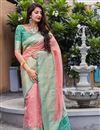 image of Pink Color Sangeet Wear Art Silk Fabric Elegant Weaving Work Saree