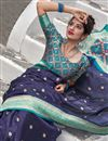 photo of Sangeet Wear Art Silk Fabric Elegant Weaving Work Saree In Navy Blue Color
