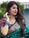 photo of Elegant Sangeet Wear Art Silk Fabric Weaving Work Saree In Teal Color