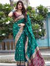 image of Elegant Sangeet Wear Art Silk Fabric Weaving Work Saree In Teal Color