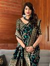 photo of Party Style Art Silk Designer Black Weaving Work Saree