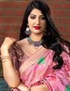 photo of Party Style Art Silk Pink Designer Weaving Work Saree
