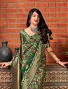 photo of Art Silk Dark Green Party Style Designer Weaving Work Saree
