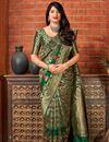 image of Art Silk Dark Green Party Style Designer Weaving Work Saree