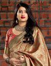 photo of Cream Party Style Designer Weaving Work Art Silk Saree