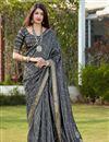 image of Grey Party Wear Chic Banarasi Style Art Silk Fabric Weaving Work Saree