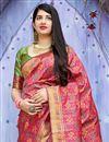 photo of Art Silk Rani Color Sangeet Wear Designer Weaving Work Saree