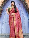 image of Rani Color Sangeet Wear Designer Weaving Work Saree In Art Silk