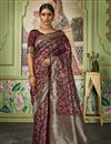 image of Art Silk Fabric Chic Sangeet Function Wear Maroon Color Weaving Work Saree