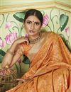 photo of Art Silk Fabric Sangeet Function Wear Chic Orange Color Weaving Work Saree