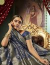 photo of Sangeet Function Wear Navy Blue Color Art Silk Fabric Chic Weaving Work Saree