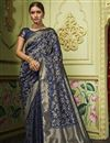 image of Sangeet Function Wear Navy Blue Color Art Silk Fabric Chic Weaving Work Saree