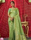 image of Sangeet Function Wear Sea Green Color Chic Art Silk Fabric Weaving Work Saree