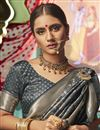 photo of Sangeet Function Wear Art Silk Fabric Chic Weaving Work Saree In Grey Color