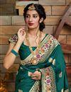 photo of Art Silk Fabric Trendy Puja Wear Teal Weaving Work Saree