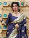 photo of Art Silk Fabric Puja Wear Trendy Navy Blue Weaving Work Saree
