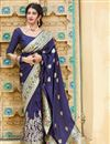 image of Art Silk Fabric Puja Wear Trendy Navy Blue Weaving Work Saree