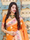 photo of Puja Wear Orange Trendy Art Silk Fabric Weaving Work Saree