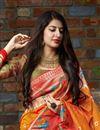 photo of Orange Trendy Puja Wear Art Silk Fabric Weaving Work Saree