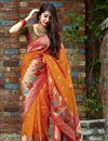 image of Orange Trendy Puja Wear Art Silk Fabric Weaving Work Saree