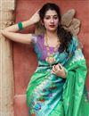photo of Art Silk Fabric Puja Wear Sea Green Trendy Weaving Work Saree