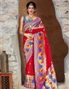 image of Art Silk Fabric Puja Wear Red Trendy Weaving Work Saree