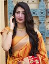 photo of Puja Wear Orange Trendy Weaving Work Saree In Art Silk Fabric