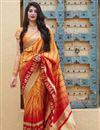 image of Puja Wear Orange Trendy Weaving Work Saree In Art Silk Fabric