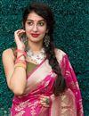 photo of Art Silk Fabric Puja Wear Classic Rani Color Weaving Work Saree