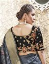 photo of Banarasi Style Art Silk Fabric Sangeet Wear Grey Color Weaving Work Saree