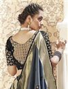 photo of Sangeet Wear Banarasi Style Art Silk Fabric Weaving Work Saree In Grey Color