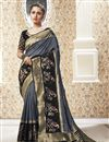 image of Sangeet Wear Banarasi Style Art Silk Fabric Weaving Work Saree In Grey Color