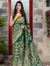 image of Art Silk Fabric Elegant Wedding Function Wear Dark Green Color Weaving Work Saree
