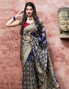 image of Navy Blue Color Wedding Function Wear Art Silk Fabric Elegant Weaving Work Saree
