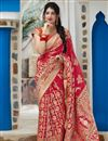 image of Elegant Wedding Function Wear Red Color Weaving Work Saree In Art Silk Fabric