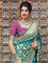 photo of Wedding Function Wear Cyan Color Elegant Art Silk Fabric Weaving Work Saree