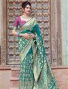 image of Wedding Function Wear Cyan Color Elegant Art Silk Fabric Weaving Work Saree