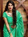 photo of Party Wear Sea Green Color Chic Cotton Silk Fabric Weaving Work Saree