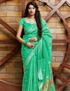image of Party Wear Sea Green Color Chic Cotton Silk Fabric Weaving Work Saree