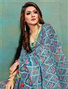photo of Cyan Color Office Wear Fancy Art Silk Fabric Printed Saree