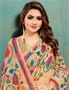 photo of Art Silk Fabric Fancy Office Wear Peach Color Printed Saree