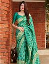 image of Green Color Party Wear Art Silk Trendy Weaving Work Saree