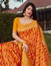 photo of Art Silk Party Wear Trendy Orange Color Weaving Work Saree