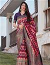 image of Party Wear Purple Color Trendy Art Silk Weaving Work Saree