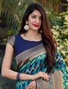 photo of Party Wear Art Silk Trendy Weaving Work Saree In Cyan Color