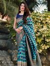 image of Party Wear Art Silk Trendy Weaving Work Saree In Cyan Color